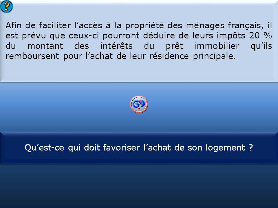 S1 Afin de faciliter l'accès à la propriété des ménages français, il est prévu que ceux-ci pourront déduire de leurs impôts 20 % du montant des intérêts du prêt immobilier qu'ils remboursent pour l'achat de leur résidence principale.