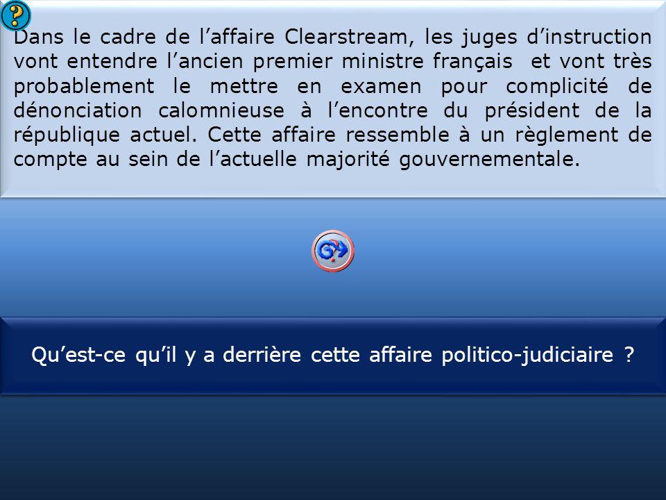 S1 Dans le cadre de l'affaire Clearstream, les juges d'instruction vont entendre l'ancien premier ministre français et vont très probablement le mettre en examen pour complicité de dénonciation calomnieuse à l'encontre du président de la république actuel.