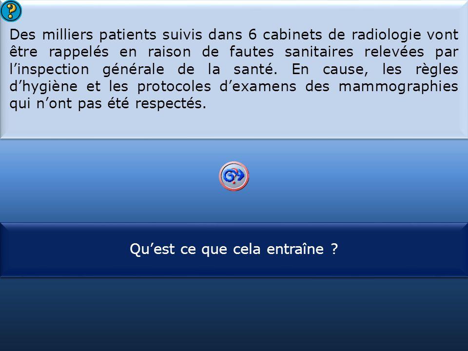 S1 Des milliers patients suivis dans 6 cabinets de radiologie vont être rappelés en raison de fautes sanitaires relevées par l'inspection générale de