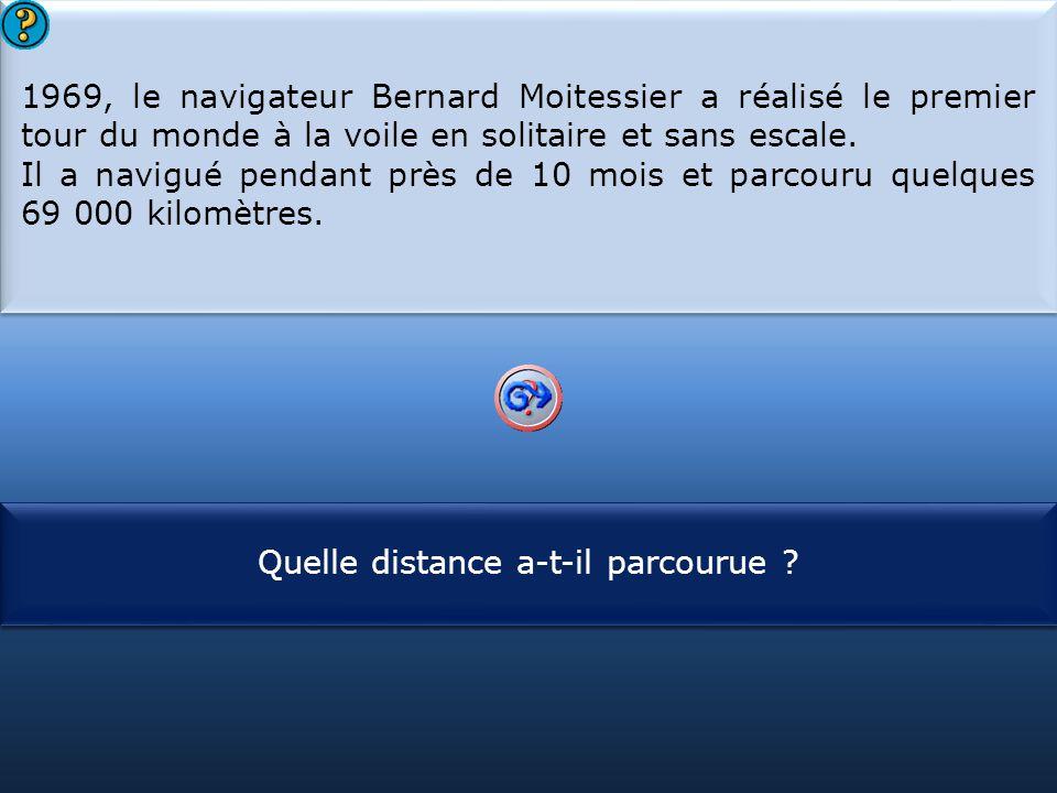 S1 1969, le navigateur Bernard Moitessier a réalisé le premier tour du monde à la voile en solitaire et sans escale. Il a navigué pendant près de 10 m