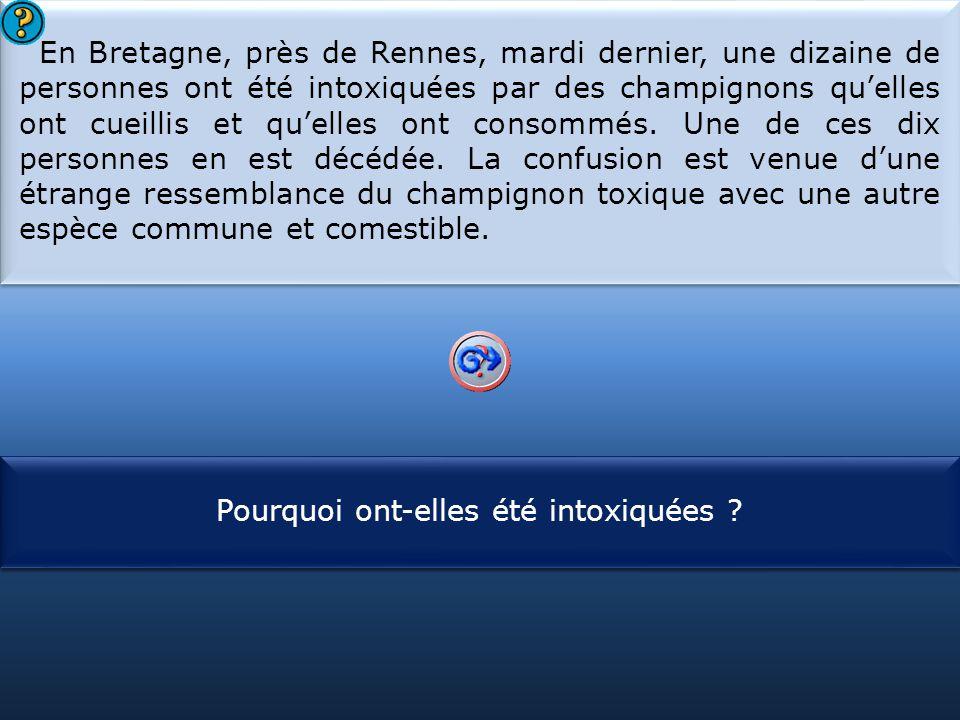 S1 En Bretagne, près de Rennes, mardi dernier, une dizaine de personnes ont été intoxiquées par des champignons qu'elles ont cueillis et qu'elles ont consommés.