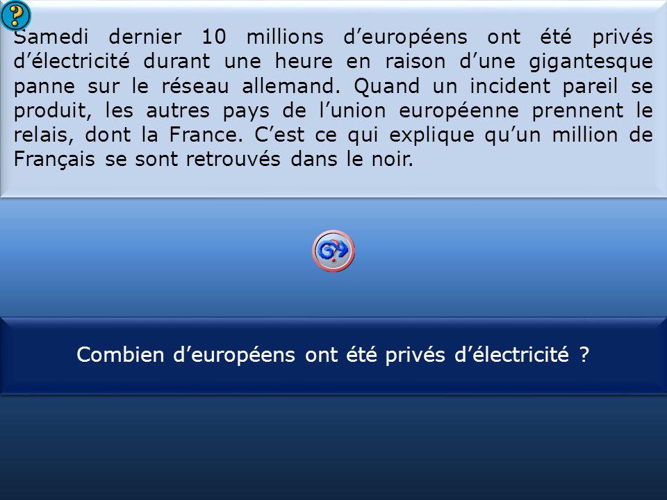 S1 Samedi dernier 10 millions d'européens ont été privés d'électricité durant une heure en raison d'une gigantesque panne sur le réseau allemand.