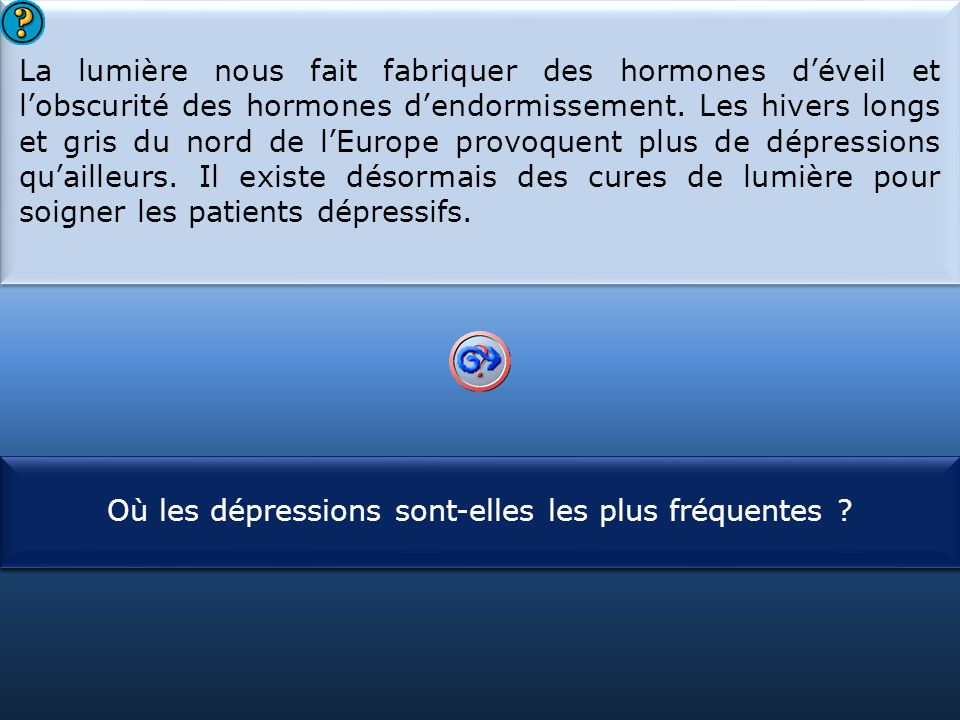 S1 La lumière nous fait fabriquer des hormones d'éveil et l'obscurité des hormones d'endormissement. Les hivers longs et gris du nord de l'Europe prov
