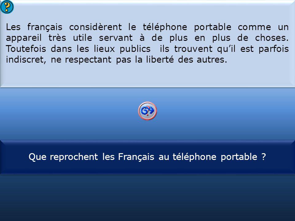 S1 Les français considèrent le téléphone portable comme un appareil très utile servant à de plus en plus de choses. Toutefois dans les lieux publics i