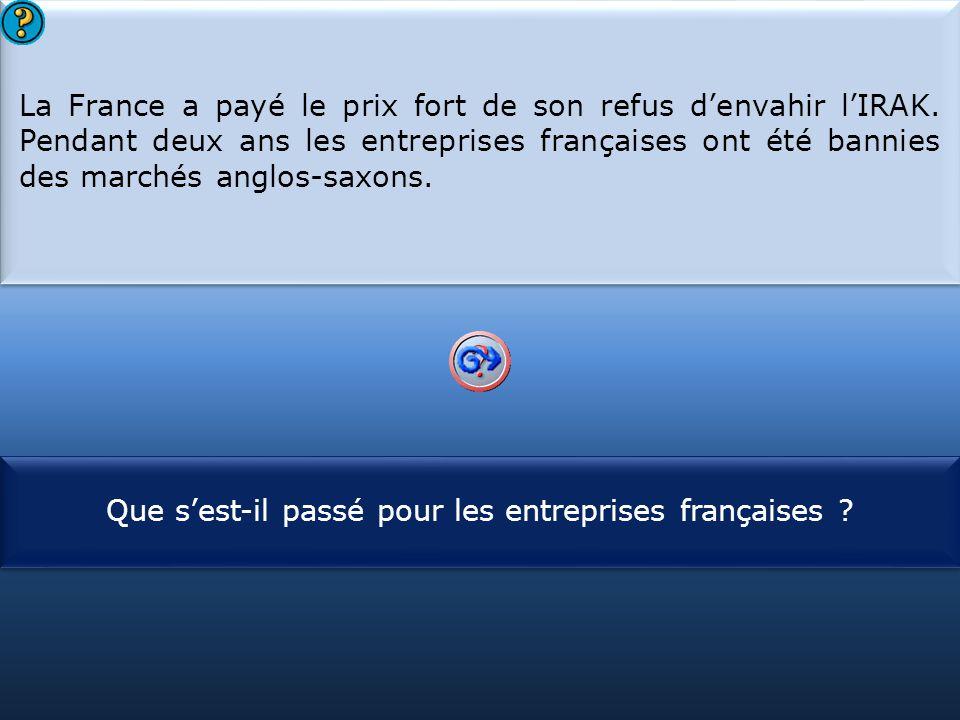 S1 La France a payé le prix fort de son refus d'envahir l'IRAK. Pendant deux ans les entreprises françaises ont été bannies des marchés anglos-saxons.