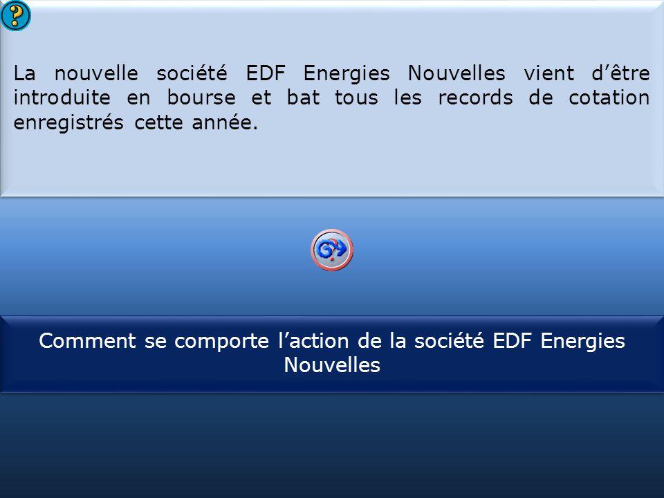 S1 La nouvelle société EDF Energies Nouvelles vient d'être introduite en bourse et bat tous les records de cotation enregistrés cette année. La nouvel