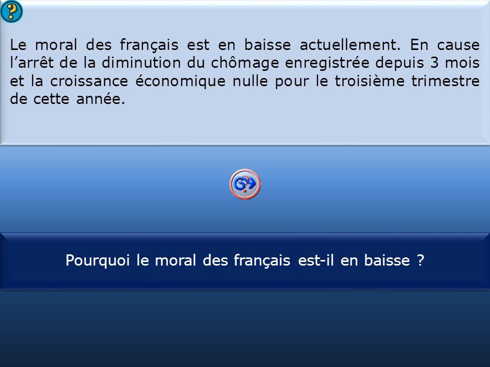 S1 Le moral des français est en baisse actuellement. En cause l'arrêt de la diminution du chômage enregistrée depuis 3 mois et la croissance économiqu