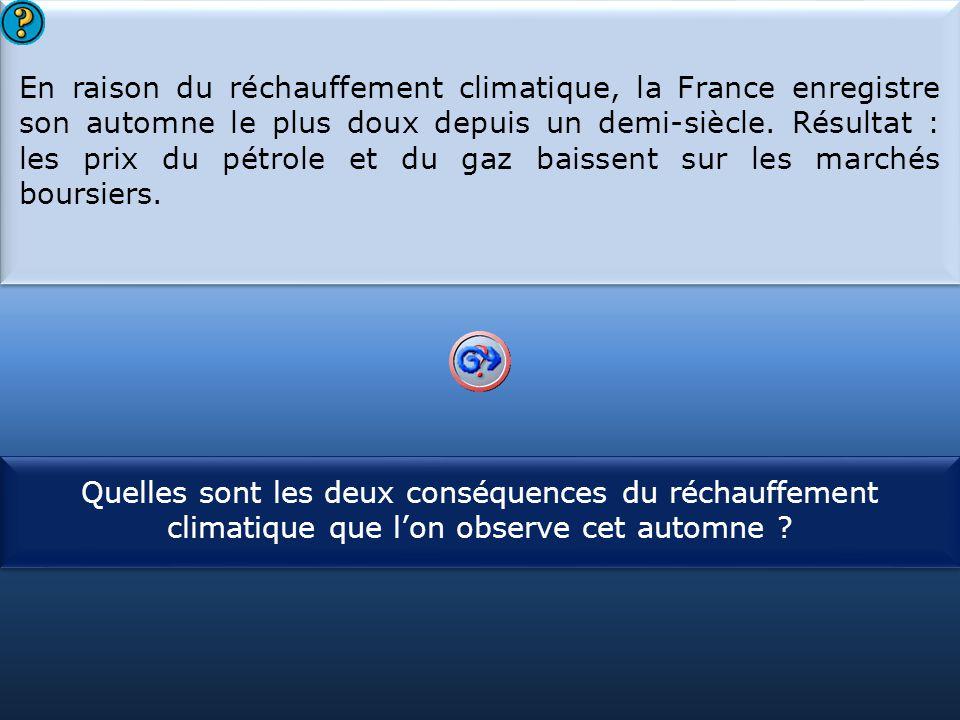 S1 En raison du réchauffement climatique, la France enregistre son automne le plus doux depuis un demi-siècle. Résultat : les prix du pétrole et du ga