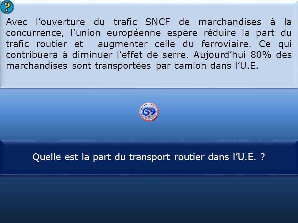 S1 Avec l'ouverture du trafic SNCF de marchandises à la concurrence, l'union européenne espère réduire la part du trafic routier et augmenter celle du ferroviaire.