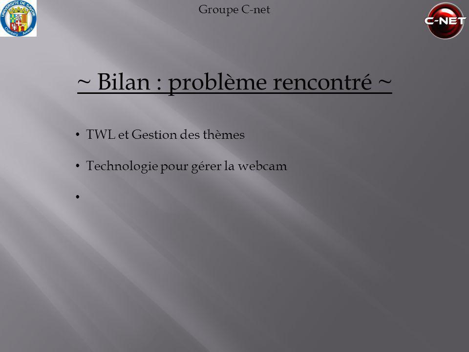 Groupe C-net ~ Bilan : problème rencontré ~ • TWL et Gestion des thèmes • Technologie pour gérer la webcam •