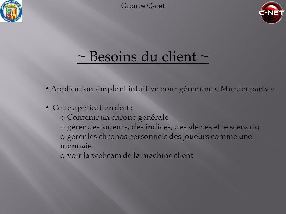 Groupe C-net ~ Besoins du client ~ • Application simple et intuitive pour gérer une « Murder party » • Cette application doit : o Contenir un chrono g