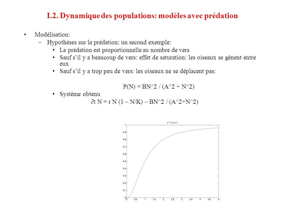 I.2. Dynamique des populations: modèles avec prédation •Modélisation: –Hypothèses sur la prédation: un second exemple: •La prédation est proportionnel