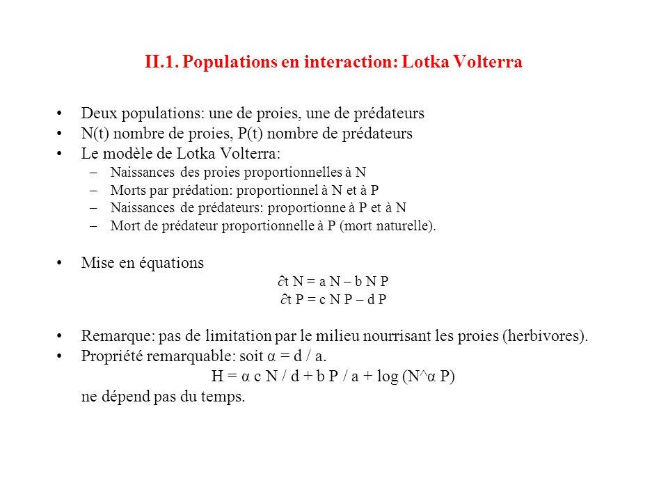 II.1. Populations en interaction: Lotka Volterra •Deux populations: une de proies, une de prédateurs •N(t) nombre de proies, P(t) nombre de prédateurs