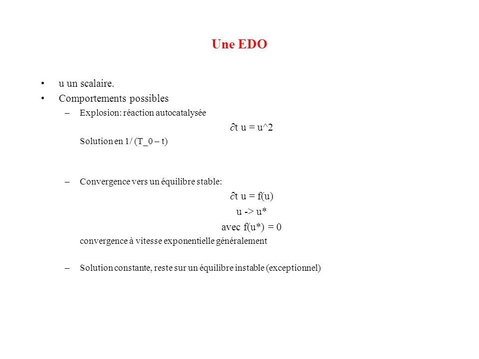 Une EDO •u un scalaire. •Comportements possibles –Explosion: réaction autocatalysée ∂t u = u^2 Solution en 1/ (T_0 – t) –Convergence vers un équilibre