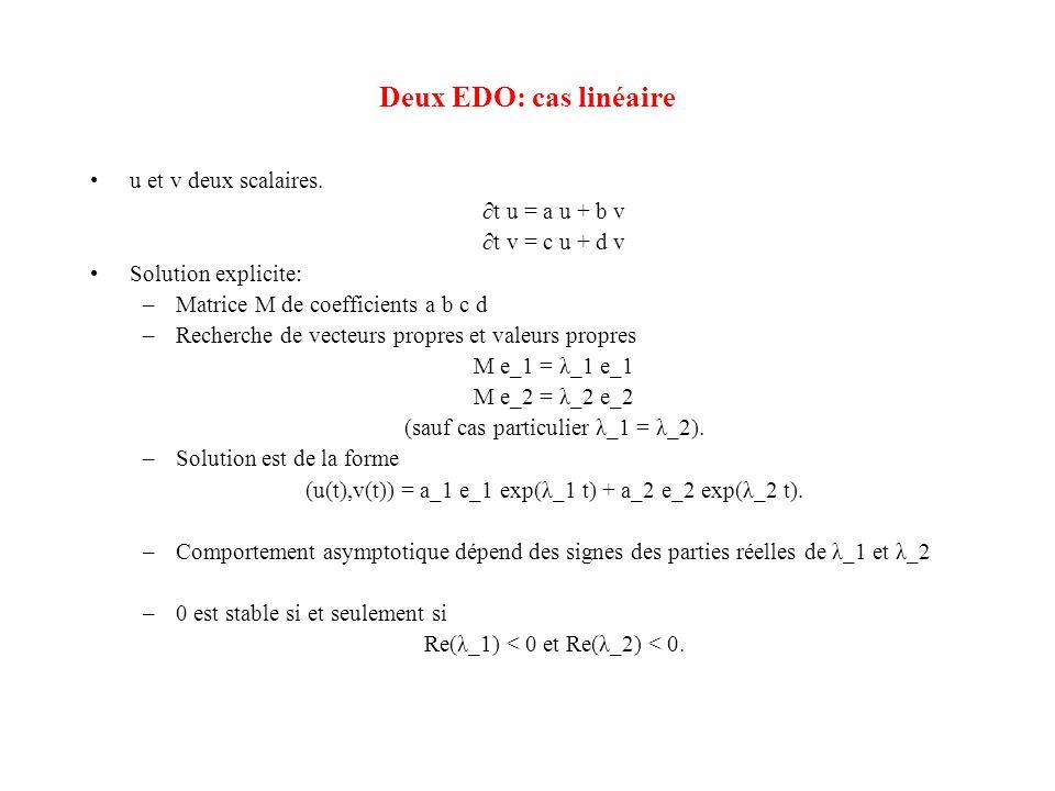 Deux EDO: cas linéaire •u et v deux scalaires. ∂t u = a u + b v ∂t v = c u + d v •Solution explicite: –Matrice M de coefficients a b c d –Recherche de