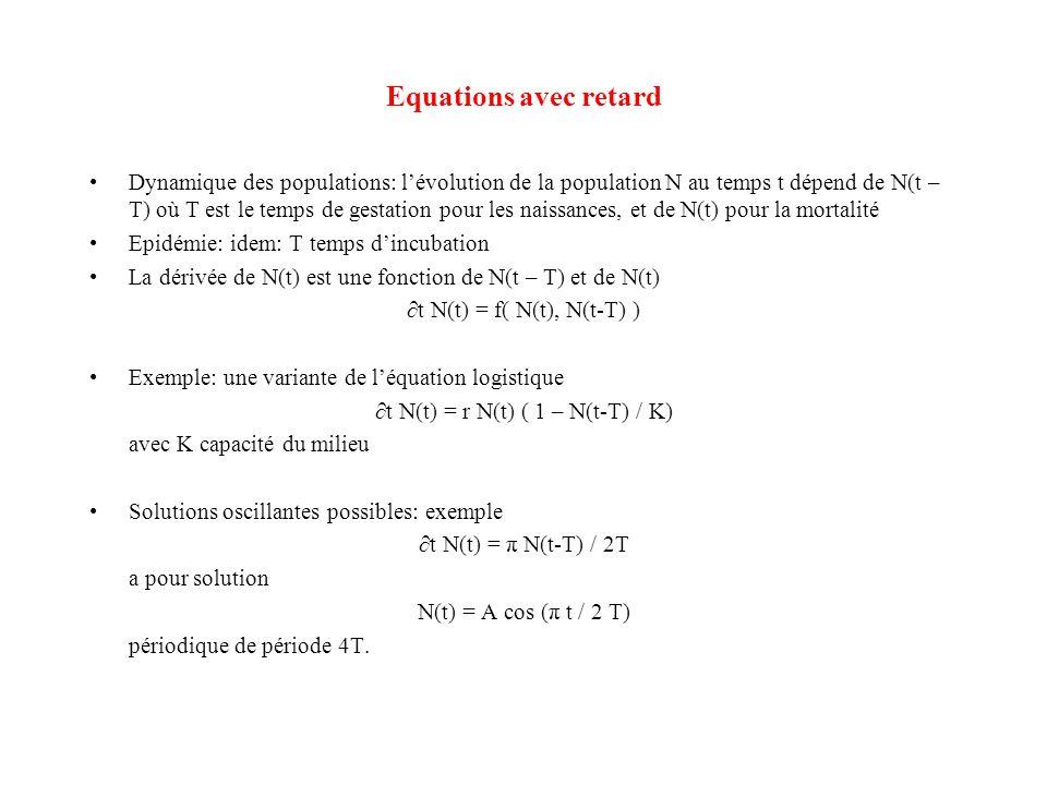 Equations avec retard •Dynamique des populations: l'évolution de la population N au temps t dépend de N(t – T) où T est le temps de gestation pour les
