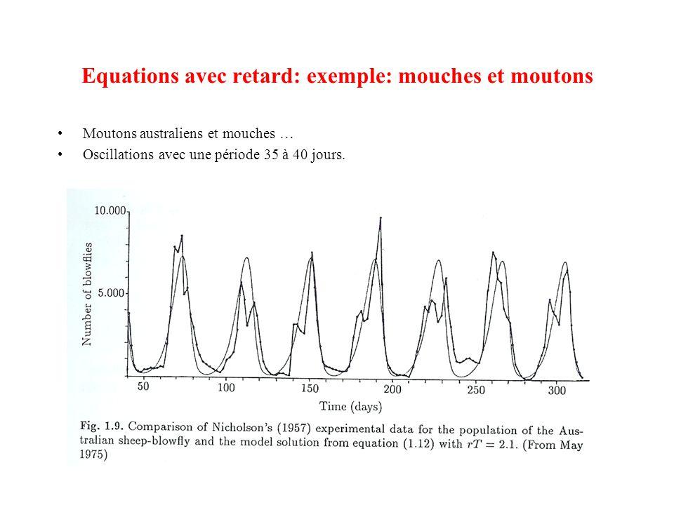Equations avec retard: exemple: mouches et moutons •Moutons australiens et mouches … •Oscillations avec une période 35 à 40 jours.