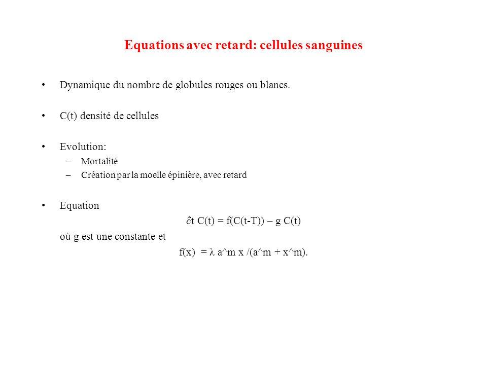 Equations avec retard: cellules sanguines •Dynamique du nombre de globules rouges ou blancs. •C(t) densité de cellules •Evolution: –Mortalité –Créatio