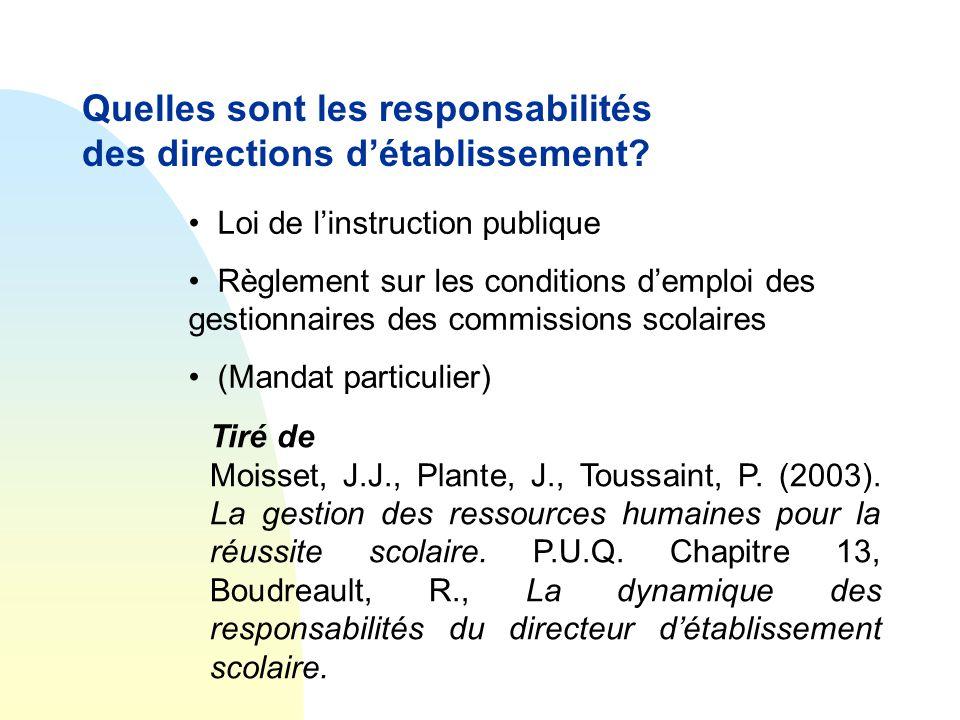 Quelles sont les responsabilités des directions d'établissement? • Loi de l'instruction publique • Règlement sur les conditions d'emploi des gestionna