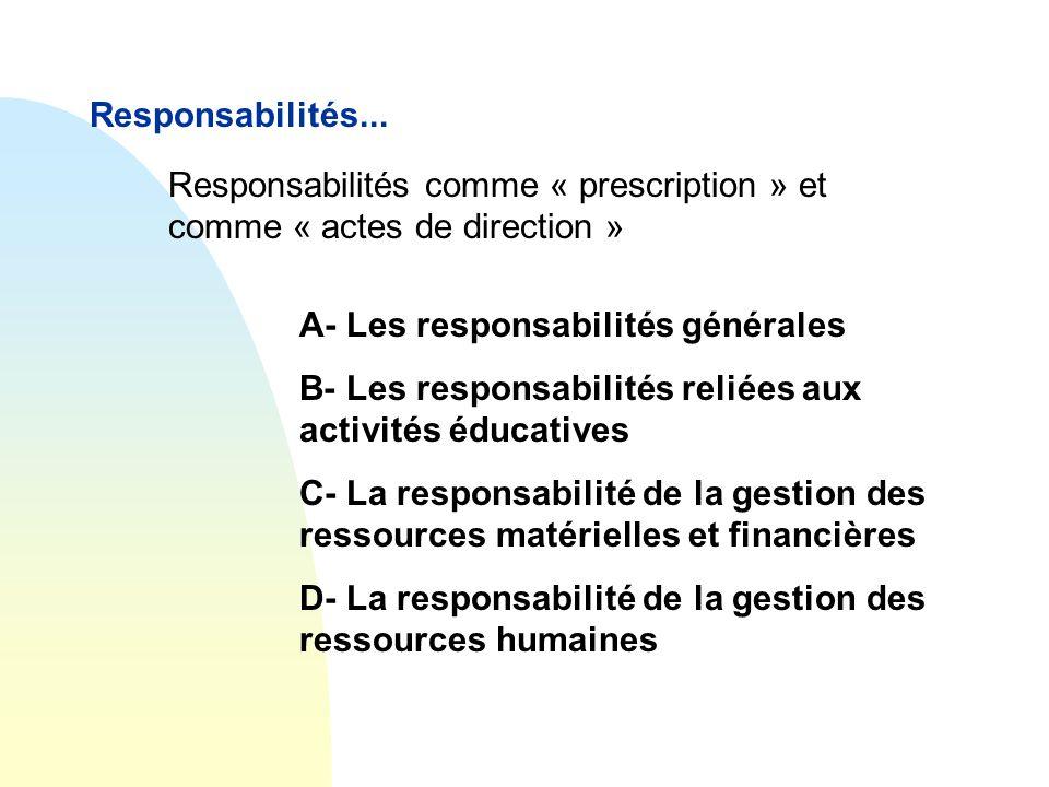 Responsabilités... A- Les responsabilités générales B- Les responsabilités reliées aux activités éducatives C- La responsabilité de la gestion des res