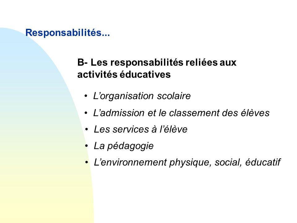 Responsabilités... B- Les responsabilités reliées aux activités éducatives • L'organisation scolaire • L'admission et le classement des élèves • Les s