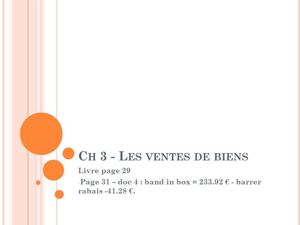 C H 3 - L ES VENTES DE BIENS Livre page 29 - Page 31 – doc 4 : band in box = 233.92 € - barrer rabais -41.28 €.