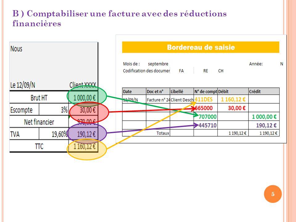 5 B ) Comptabiliser une facture avec des réductions financières