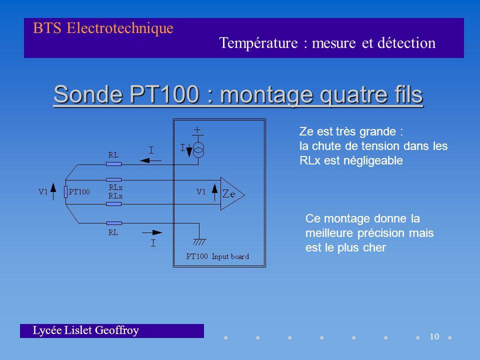 Température : mesure et détection BTS Electrotechnique Lycée Lislet Geoffroy 10 Sonde PT100 : montage quatre fils Ze est très grande : la chute de ten