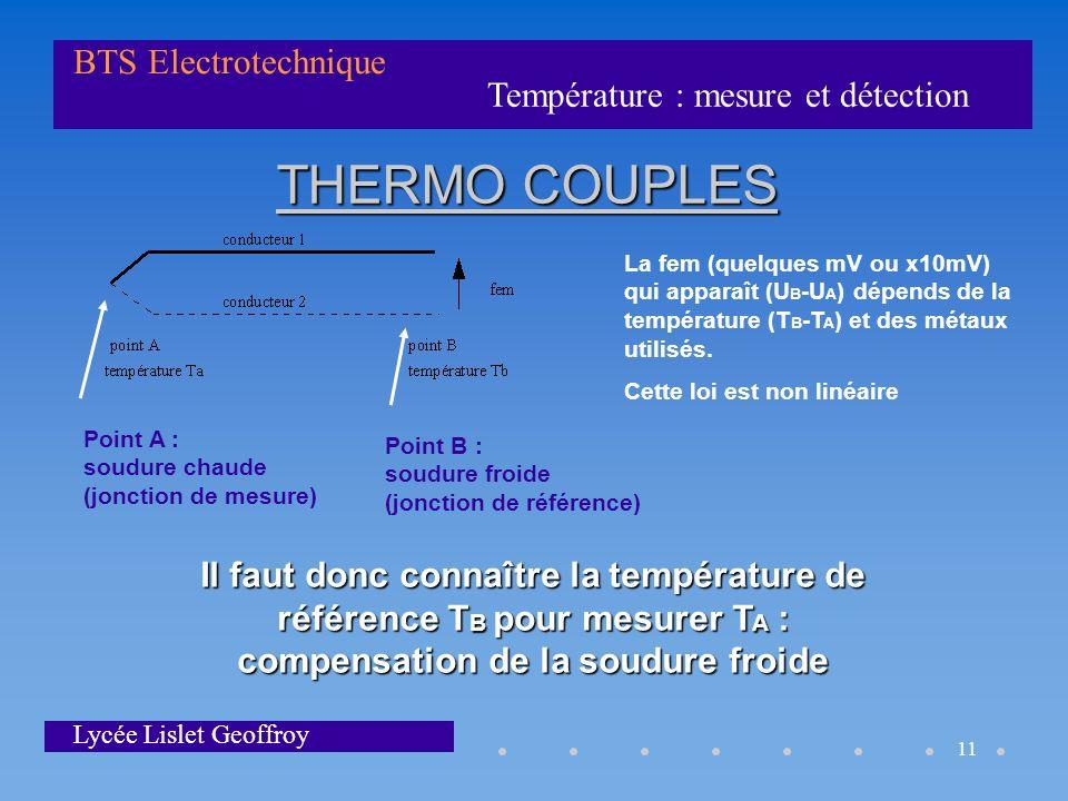 Température : mesure et détection BTS Electrotechnique Lycée Lislet Geoffroy 11 THERMO COUPLES La fem (quelques mV ou x10mV) qui apparaît (U B -U A )