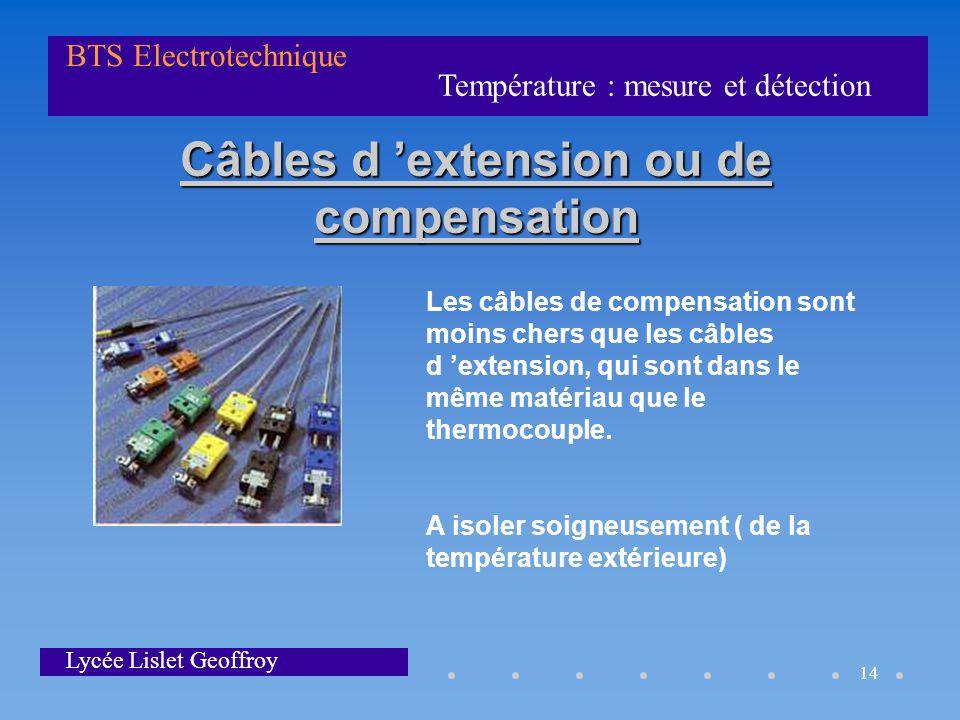 Température : mesure et détection BTS Electrotechnique Lycée Lislet Geoffroy 14 Câbles d 'extension ou de compensation Les câbles de compensation sont