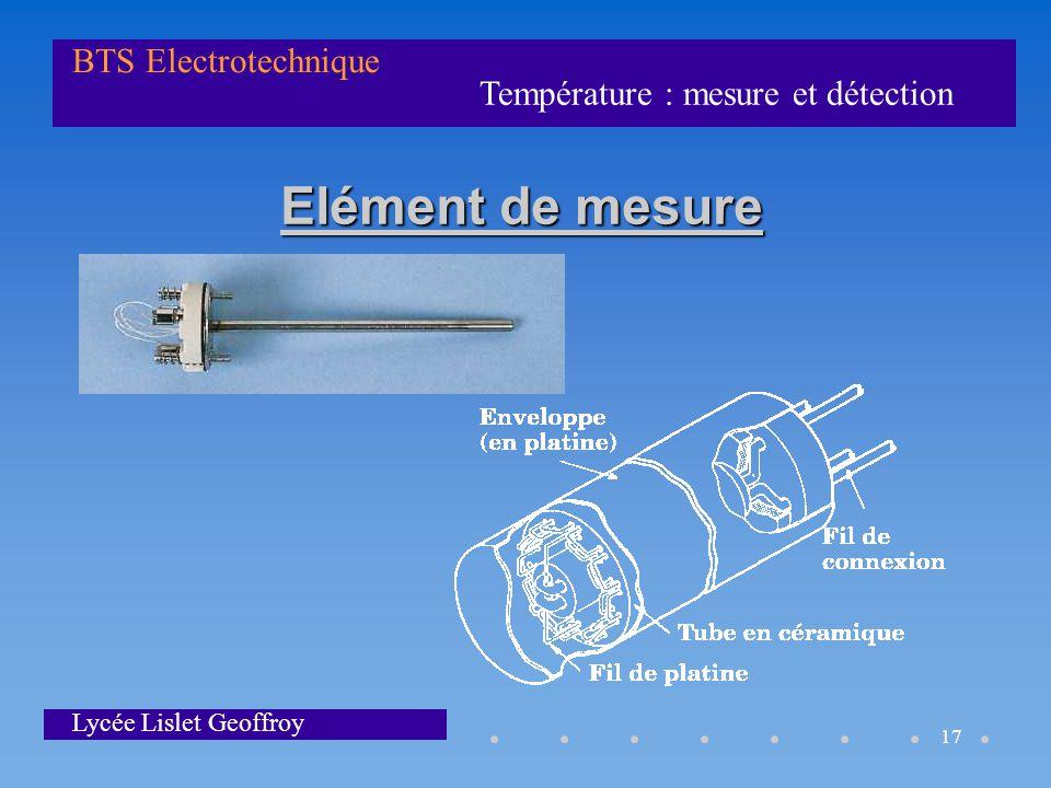 Température : mesure et détection BTS Electrotechnique Lycée Lislet Geoffroy 17 Elément de mesure