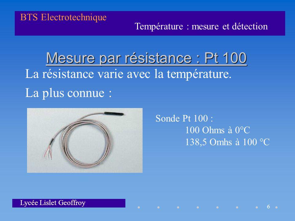 Température : mesure et détection BTS Electrotechnique Lycée Lislet Geoffroy 6 Mesure par résistance : Pt 100 La résistance varie avec la température.
