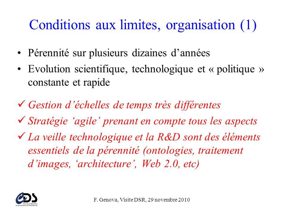 F. Genova, Visite DSR, 29 novembre 2010 Conditions aux limites, organisation (1) •Pérennité sur plusieurs dizaines d'années •Evolution scientifique, t