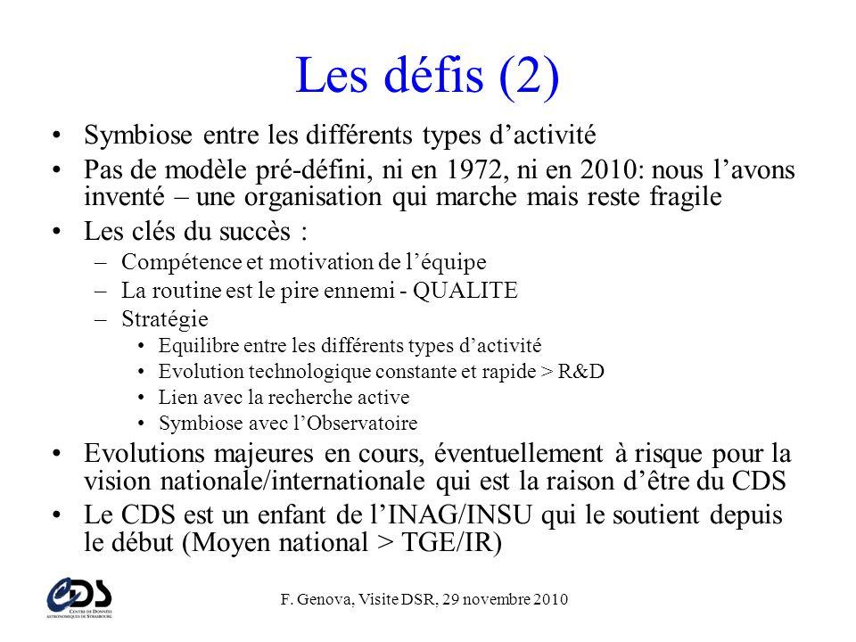 F. Genova, Visite DSR, 29 novembre 2010 Les défis (2) •Symbiose entre les différents types d'activité •Pas de modèle pré-défini, ni en 1972, ni en 201