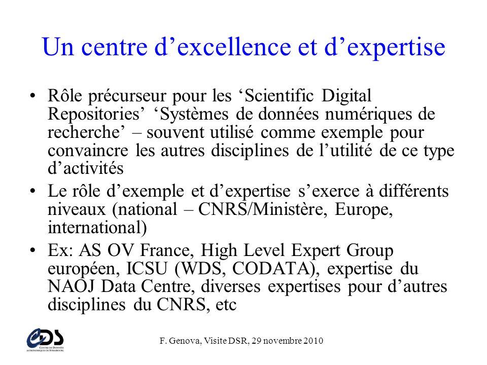 F. Genova, Visite DSR, 29 novembre 2010 Un centre d'excellence et d'expertise •Rôle précurseur pour les 'Scientific Digital Repositories' 'Systèmes de