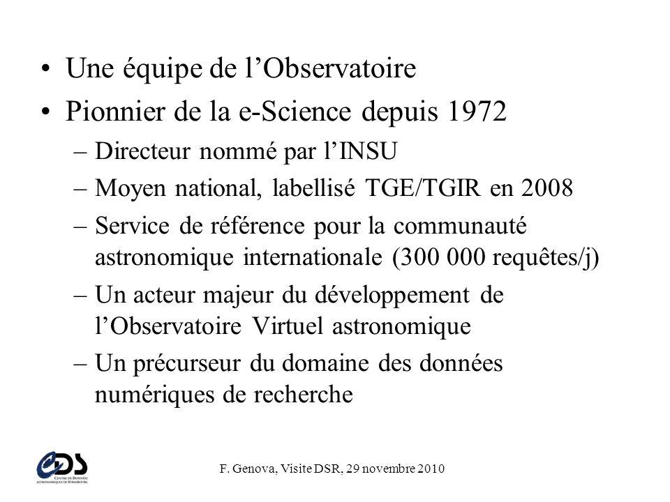 F. Genova, Visite DSR, 29 novembre 2010 •Une équipe de l'Observatoire •Pionnier de la e-Science depuis 1972 –Directeur nommé par l'INSU –Moyen nationa