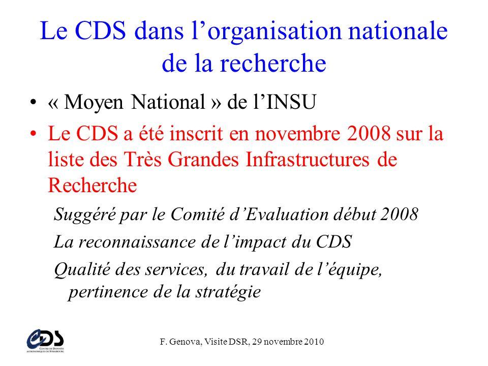 F. Genova, Visite DSR, 29 novembre 2010 Le CDS dans l'organisation nationale de la recherche •« Moyen National » de l'INSU •Le CDS a été inscrit en no