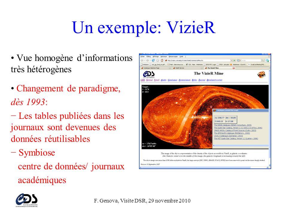 F. Genova, Visite DSR, 29 novembre 2010 Un exemple: VizieR • Vue homogène d'informations très hétérogènes • Changement de paradigme, dès 1993: − Les t