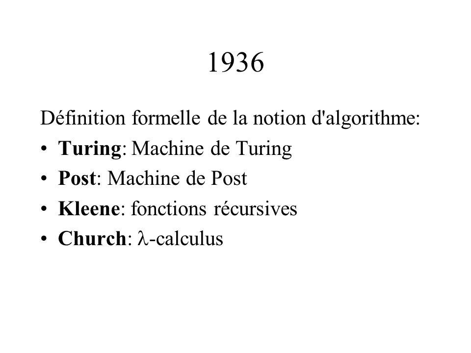 1936 Définition formelle de la notion d'algorithme: •Turing: Machine de Turing •Post: Machine de Post •Kleene: fonctions récursives •Church:  -calcul