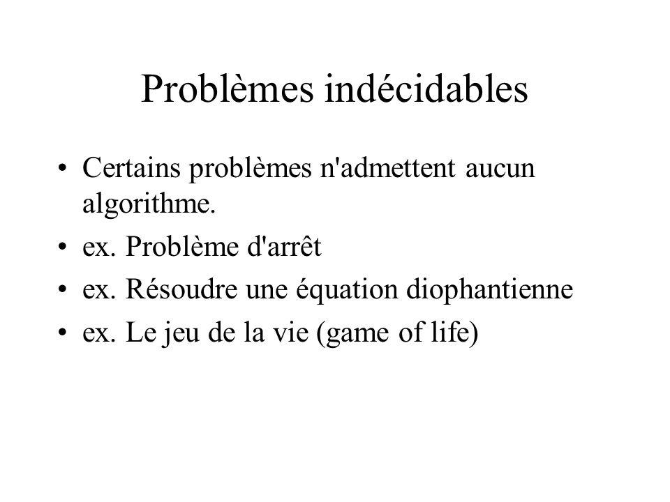 Problèmes indécidables •Certains problèmes n'admettent aucun algorithme. •ex. Problème d'arrêt •ex. Résoudre une équation diophantienne •ex. Le jeu de