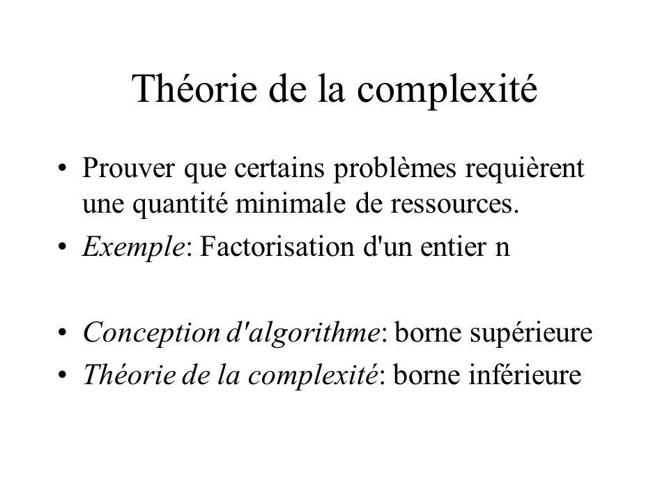 Théorie de la complexité •Prouver que certains problèmes requièrent une quantité minimale de ressources. •Exemple: Factorisation d'un entier n •Concep