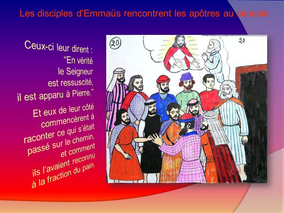 Les disciples d'Emmaüs rencontrent les apôtres au cénacle