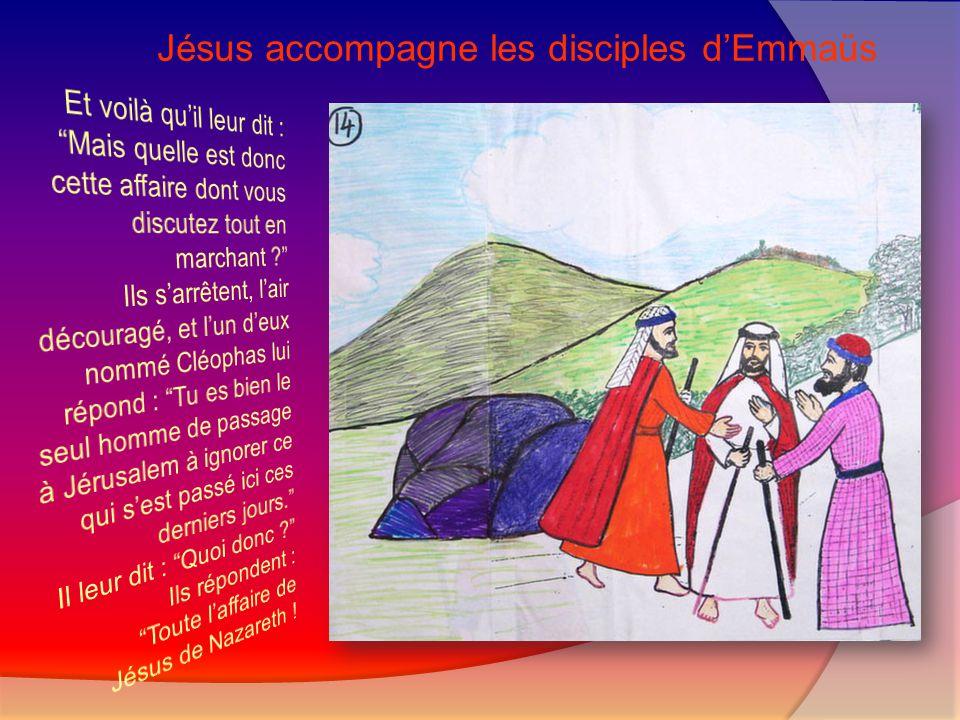 Jésus accompagne les disciples d'Emmaüs