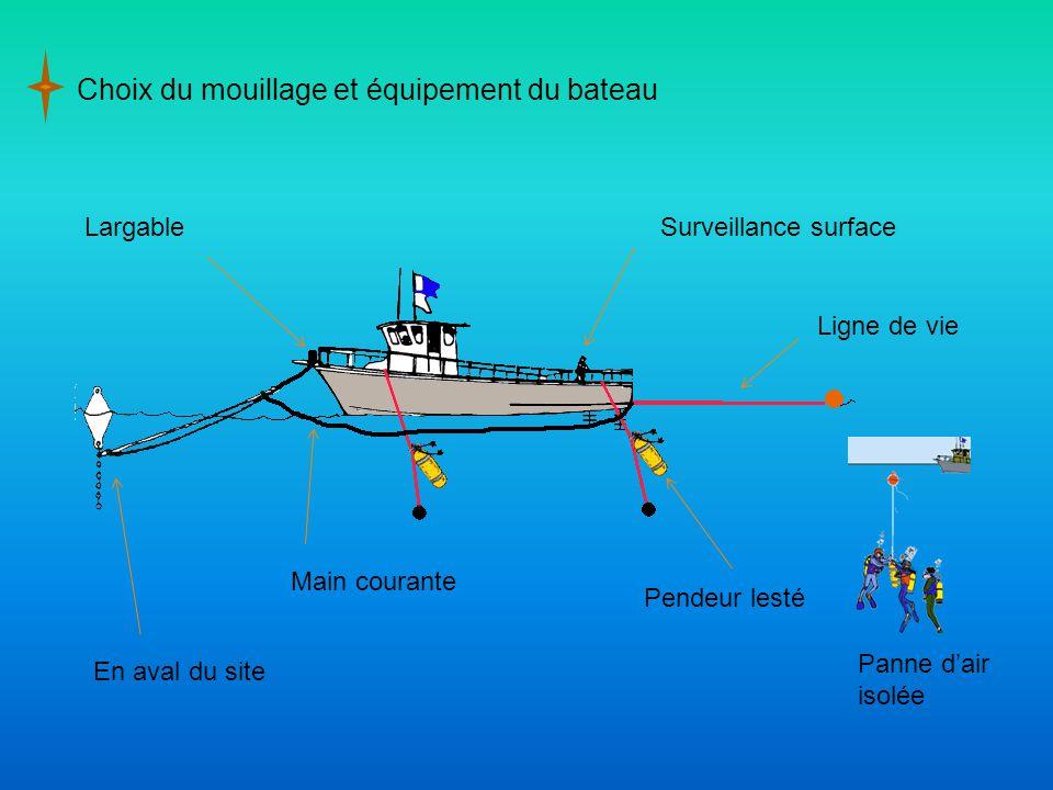 Choix du mouillage et équipement du bateau En aval du site LargableSurveillance surface Main courante Pendeur lesté Ligne de vie Panne d'air isolée