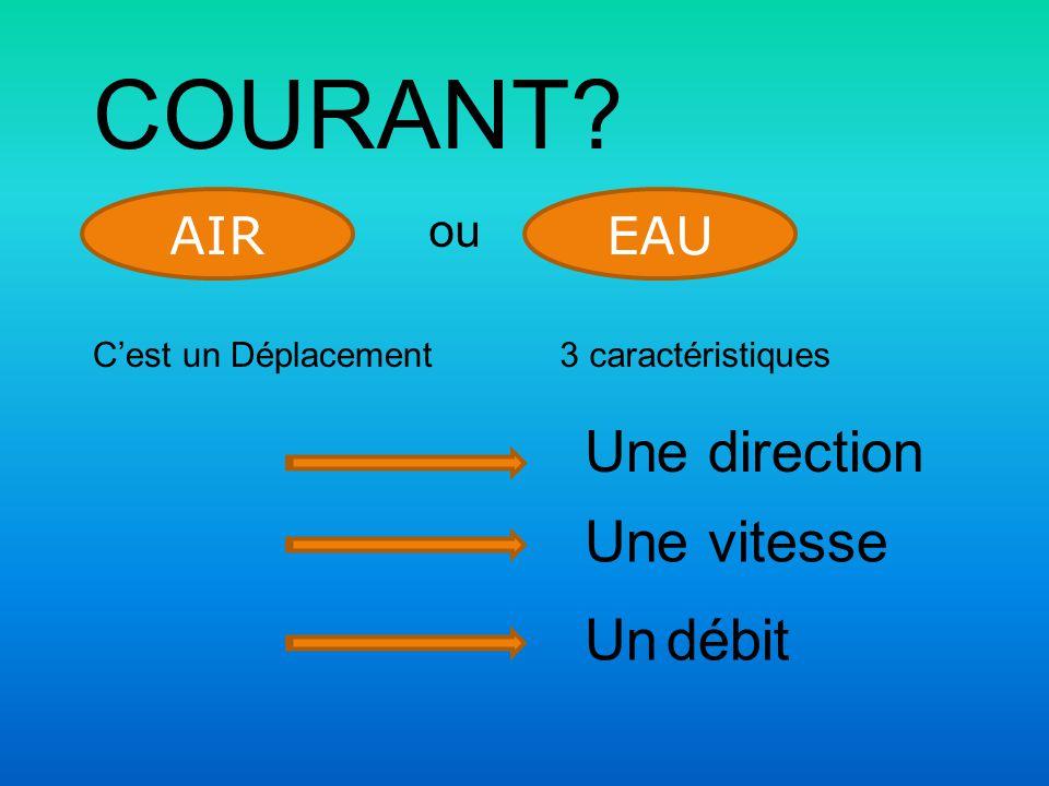 COURANT? AIR ou EAU C'est un Déplacement3 caractéristiques Une direction Une vitesse Un débit