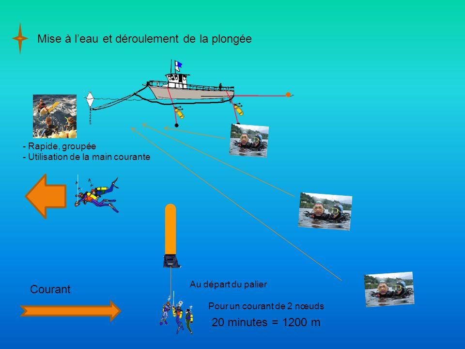 Mise à l'eau et déroulement de la plongée - Rapide, groupée - Utilisation de la main courante Courant Au départ du palier Pour un courant de 2 nœuds 20 minutes = 1200 m