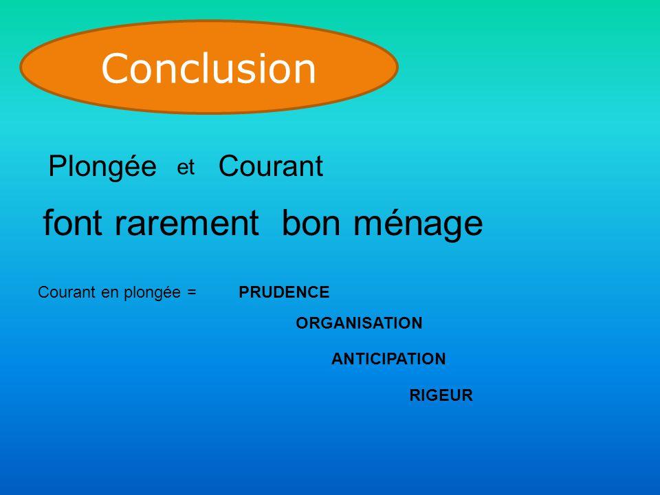 Conclusion Plongée et Courant font rarement bon ménage Courant en plongée =PRUDENCE ORGANISATION ANTICIPATION RIGEUR
