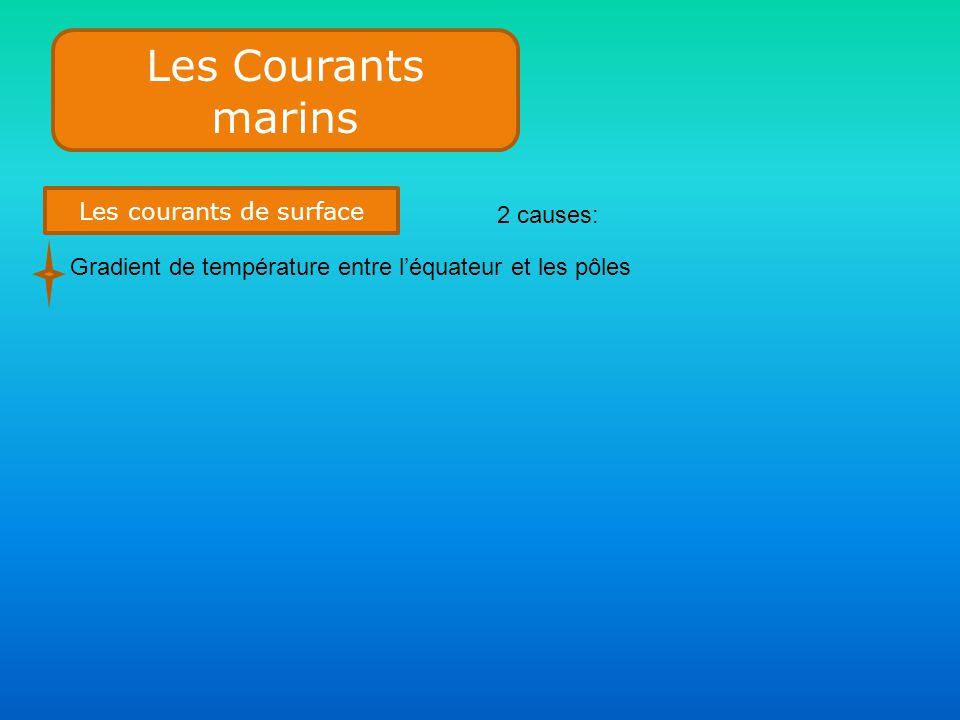 Les Courants marins Les courants de surface 2 causes: Gradient de température entre l'équateur et les pôles