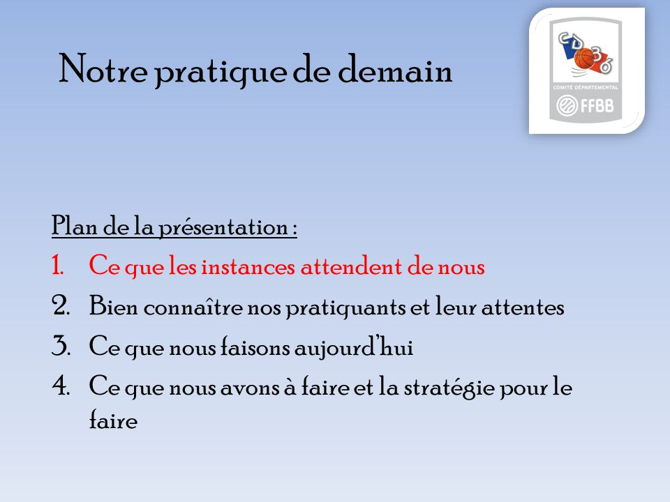 Notre pratique de demain Plan de la présentation : 1.Ce que les instances attendent de nous 2.Bien connaître nos pratiquants et leur attentes 3.Ce que