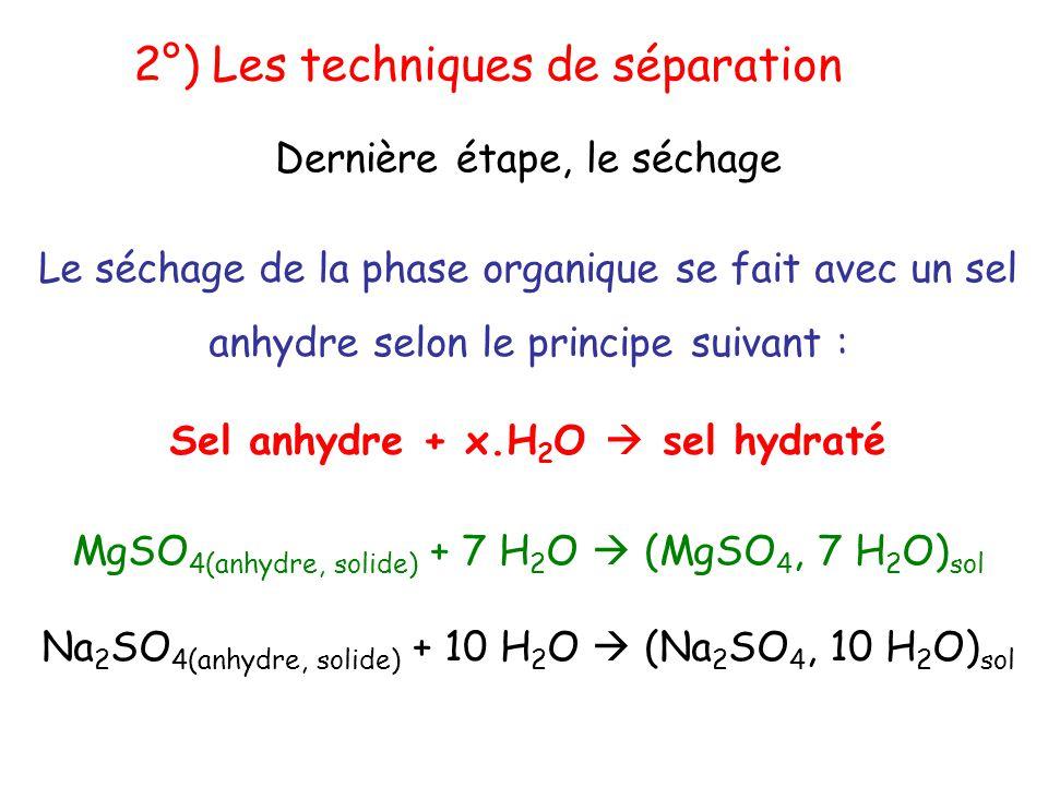Sel anhydre + x.H 2 O  sel hydraté Le séchage de la phase organique se fait avec un sel anhydre selon le principe suivant : MgSO 4(anhydre, solide) +